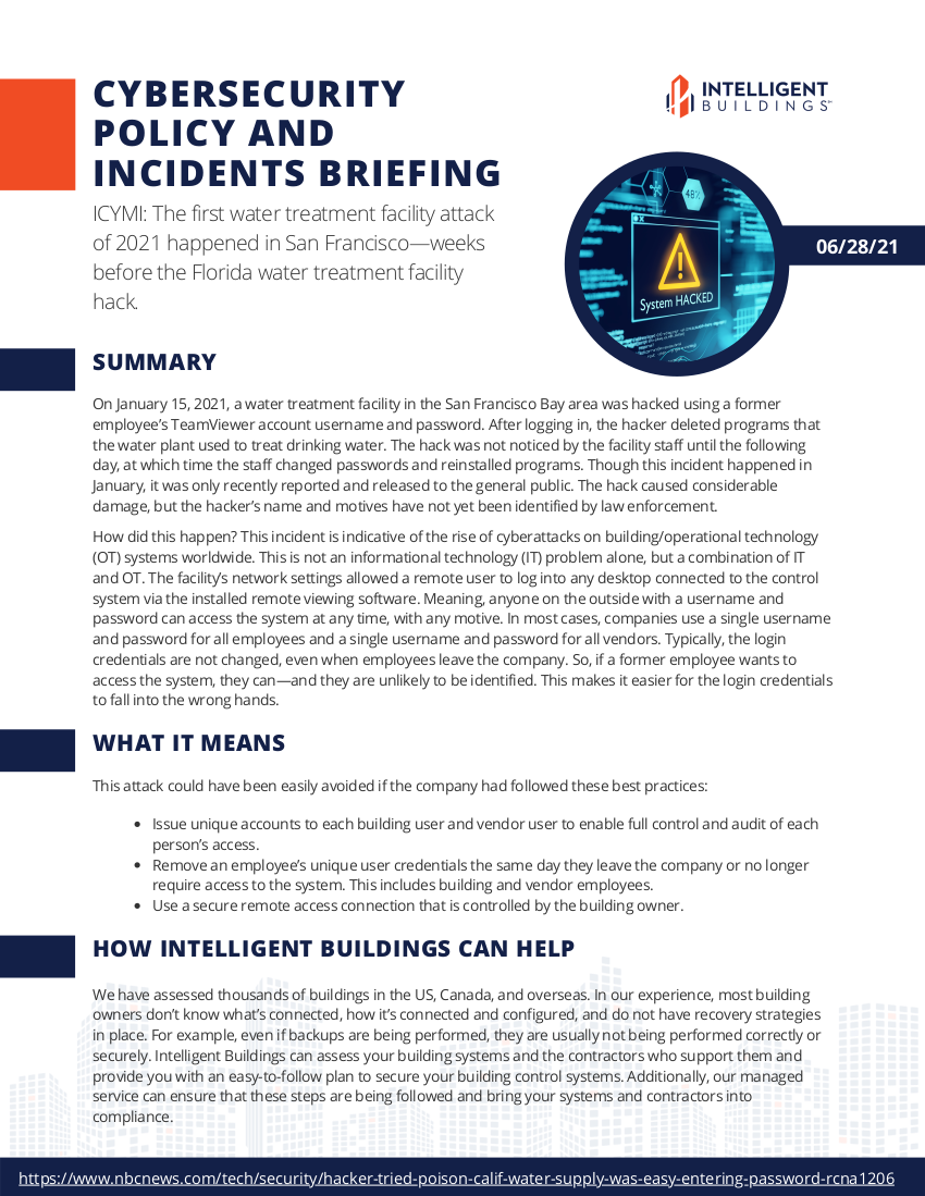 cybersecurity policy and incidents briefing 6/28/21